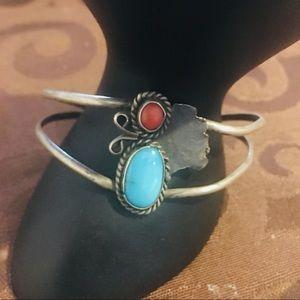 Navajo Sterling Silver Coral & Turquoise Bracelet